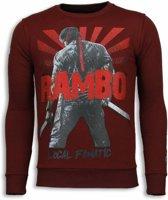 Local Fanatic Rambo - Rhinestone Sweater - Bordeaux - Maten: M