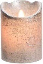Zilveren led kaars flakkerend 10 cm
