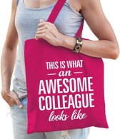 Kadotas This is what an awesome collaegue looks like roze katoen - cadeautas voor collega's