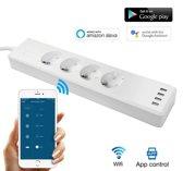WIFI Stekkerdoos - WIFI Smart Stekkerdoos - Power Strip - Stekkerdoos - Slimme Schakelaar - USB Charging - Voice & Remote Control - Wit