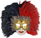 Venetiaans veren masker rood/zwart