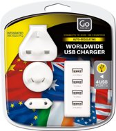 Go Travel reisstekker - USB lader worldwide - wit