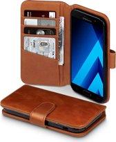 Hoesje voor Samsung Galaxy A5 (2017), echt lederen 3-in-1 bookcase, cognac bruin