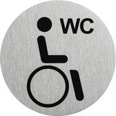 """Aluminium deurbordje """" pictogram gehandicapten toilet """" Ø75mm"""
