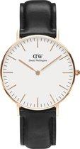 Daniel Wellington Classic Sheffield DW00100036 - Horloge - Leer - Zwart - Ø 36 mm