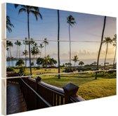 Zonsopgang Kauai Hout 120x80 cm - Foto print op Hout (Wanddecoratie) / Zee en Strand