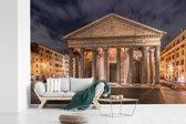 Fotobehang vinyl - Pantheon vooraanzicht in de avond met mooie verlichting in Rome breedte 540 cm x hoogte 360 cm - Foto print op behang (in 7 formaten beschikbaar)