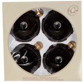 Cosy @ Home Kerstbal glas set 4 zwart glans 8cm