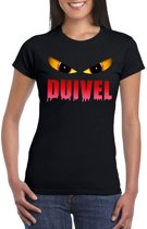 Halloween duivel t-shirt zwart dames - Halloween kostuum S