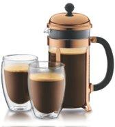 Bodum Chambord Set Cafetière koper - 8 kops - 1.0l met 2 Pavina dubbelwandige glazen - 0.35l
