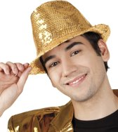 12 stuks: Hoed Popstar Pailletten - goud