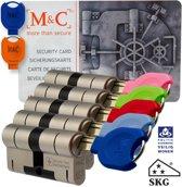 M & C Deurcilinder Anti kern & cilindertrek 32/32 set van 5 stuks skg*** gelijksluitend incl. 7 color sleutels.