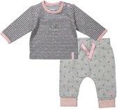 Dirkje Basics Meisjes Set (2delig) Shirt gestreept met Broek Grijs - Maat 68