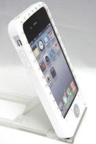 Zacht rubberen backcase met bling bling wit voor iphone 4/4s