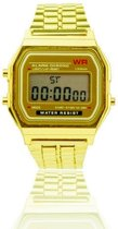 Digitaal Retro - Horloge - Staal - Geelgoudkleurig - 22 mm