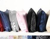 Zijden kussensloop, Oxford blauw, 60x70cm, Housewife-style 100% zijde, 600thread count(22momme)