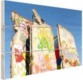 Stukken van de Berlijnse muur Hout 120x80 cm - Foto print op Hout (Wanddecoratie)