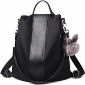 Anti-diefstal rugzak - Rugtas dames - Waterdicht - Klein - Anti-theft backpack - Rug-, Schouder-, Handtas in één - Nylon- incl. verstelbare riem - Zwart - Glennoo