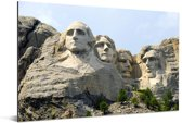 Het beroemde monument Mount Rushmore tijdens een zonnige dag Aluminium 90x60 cm - Foto print op Aluminium (metaal wanddecoratie)