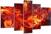 Glasschilderij Bloem | Rood, Zwart, Geel | 170x100cm 5Luik | Foto print op Glas |  F003291