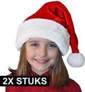 2x stuks pluche luxe kerstmutsen rood/wit voor kinderen - voordelige/goedkope kerstmuts van goede kwaliteit