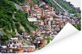 Een nederzetting van een favela op een heuvel in Rio de Janeiro Poster 90x60 cm - Foto print op Poster (wanddecoratie woonkamer / slaapkamer)