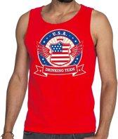 Rood USA drinking team tanktop / mouwloos shirt / tanktop / mouwloos shirt rood heren -  Amerika kleding M