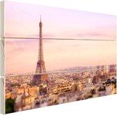 Zonsondergang over Parijs Hout 60x40 cm - Foto print op Hout (Wanddecoratie)