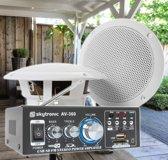 """Weerbestendige 5"""" speakerset + versterker en kabel voor muziek op terras of veranda"""