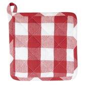 Pannenlap 20x20 cm - rood/wit geblokt - CFA45R
