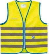Wowow Veiligheidshesje kind met rits EN 1150 - Fun Fietsjas  - Maat L  - Unisex - geel/blauw/zilver