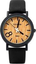 Feifan - Houtlook Horloge - Kunststof - Black/Zwart - Ø 38 mm