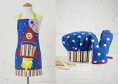 Schort, Koksmuts en Ovenhandschoen voor kinderen - Ruimteschip, Astronaut