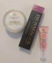 Dermacol set - Dermacol Make-Up Cover tint 212 - 30 Gram - Satin Make-Up Base - 10ML - Invisible Fixing Powder - Light - 13 Gram