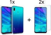Huawei P Smart (2019) Siliconen Hoesje - 2x Tempered Glass Screenprotector - Transparant - van Bixb