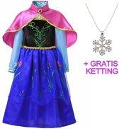 Anna Frozen jurk - Prinsessenjurk - Met roze cape maat 104-110 (120) + GRATIS ketting