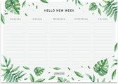 Weekplanner Botanisch - A5 - Afscheurbaar - Agendablok - 100 vel - Bladeren - Groen/Wit - Fabrikten