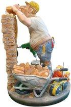 Metselaar – bouw - polyresin – beroepen - beeldje – Profisti – 11x11x33 cm - relatiegeschenk