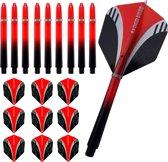 ABC Dart Flights en Darts Shafts Medium - Tribal rood - 3 sets