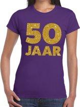 50 jaar goud glitter verjaardag t-shirt paars dames - verjaardag / jubileum shirts XL