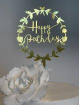 Garland Happy Birthday - Taarttopper Goud