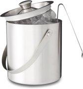 relaxdays - ijsemmer met tang en deksel 2 liter - ijsblokjesemmer zilver - RVS