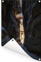 Petra Rose City handelsroute tussen de rotsen Jordanië Tuinposter 80x120 cm - Tuindoek / Buitencanvas / Schilderijen voor buiten (tuin decoratie)