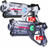 4x Light Battle Active lasergun camo grijs/wit | Lasergame voordeelset