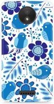 Motorola Moto C Hoesje Blue Bird and Flowers