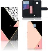 Bookcase Nokia 1 Plus Zwart Roze Vormen