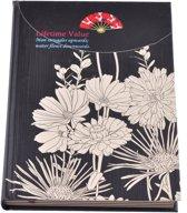 Notitieboekje met bloemen – Zwart/Crème