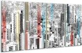 Glas schilderij Modern, Steden | Zwart, Wit | 160x80cm 4Luik | Foto print op Glas |  F007800