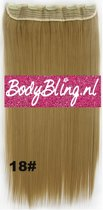 Clip in hair extensions 1 baan straight blond - 18#