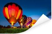 Kleurrijke luchtballonen op een rij met een kleurrijke hemel Poster 30x20 cm - klein - Foto print op Poster (wanddecoratie woonkamer / slaapkamer)